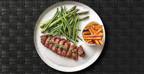 Steak with Asparagus and Sweet Potato