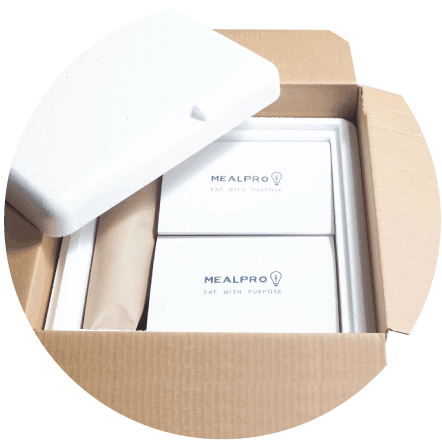 Picutre shows your high protein meal delivery box which featured leak-proof packaging and a thermal liner to ensure your meals arrive in optimal condition