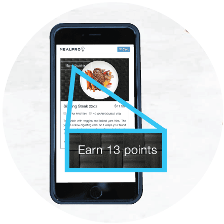 When you sign up for healthy meals you earn rewards points you can redeem for free meals