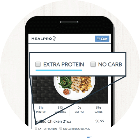 Customize your weight gain meals on the menu page