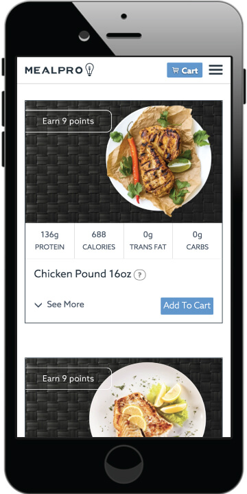 MealPro is a meal kit startup. The picture shows MealPro's graphical user interface on the menu page