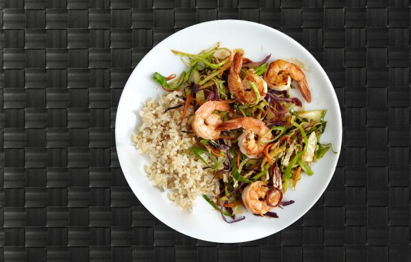 Picture shows a  shrimp stir fry meal