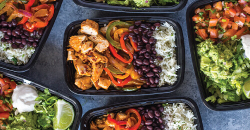 Healthy weight gain weight gain meals plated in a microwave safe weight gain meal prep containers