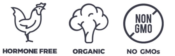 Picture of Hormone Free, Organic Produce and Non-GMO Icons