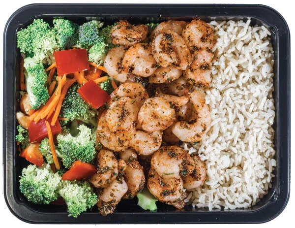 Picture of a balanced workout  meal that includes veggies, omega-3 rich shrimp and rice