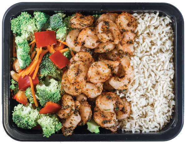 Picture of a balanced gym meal that includes veggies, omega-3 rich shrimp and rice