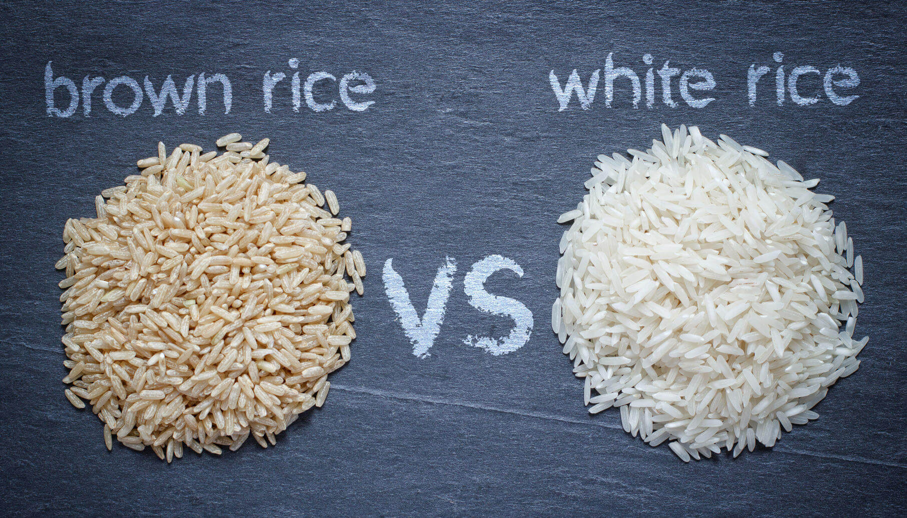 Picture of white and brown rice
