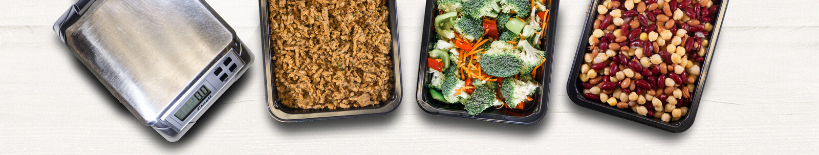 Top down picture of healthy  custom meal ingredients that you can combine in any way to create your own meal
