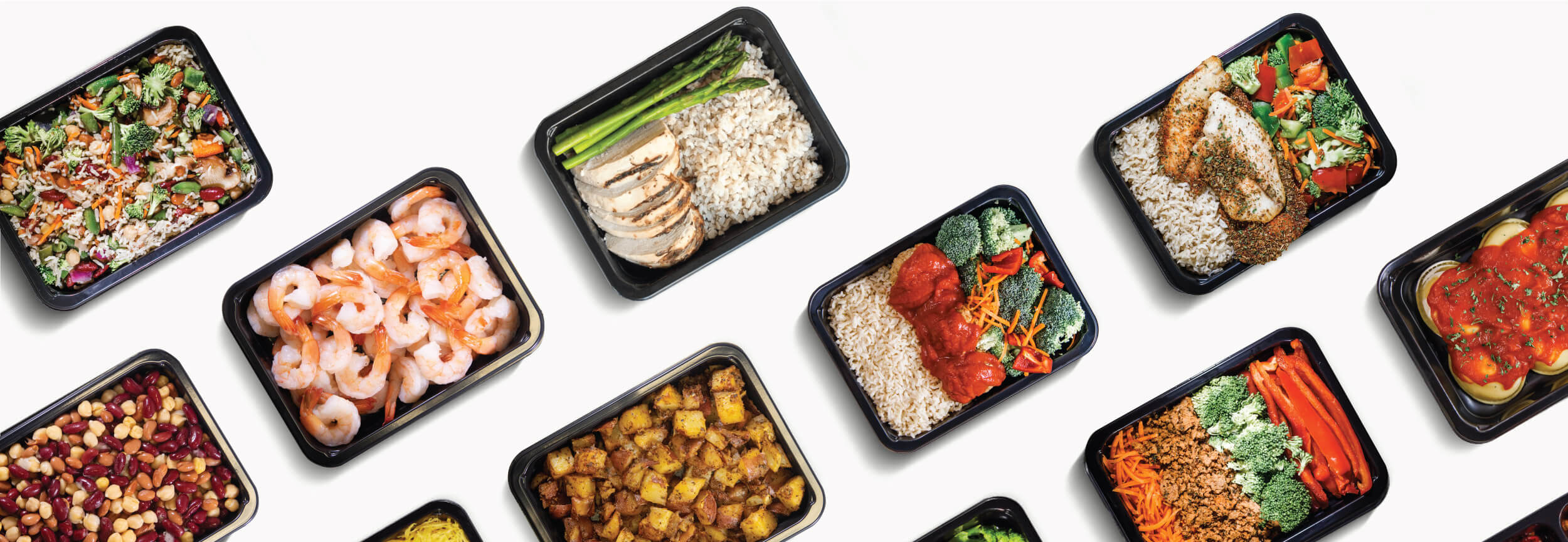Top down picture of healthy oklahoma city fitness meal assortment on a table