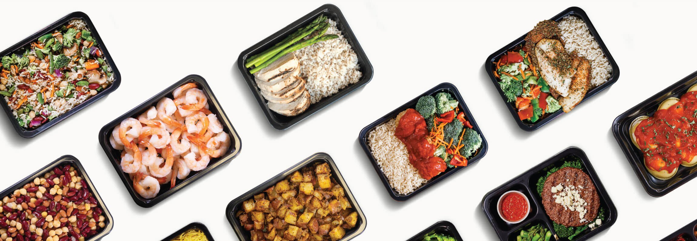 Top down picture of food inside the food container. Perfect healthy Los Angeles Weight Gain meal assortment