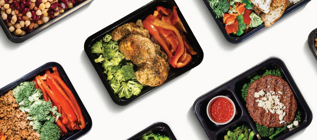 Picture of healthy weight loss weight loss meals plated in an oven and microwave safe weight loss meal prep container