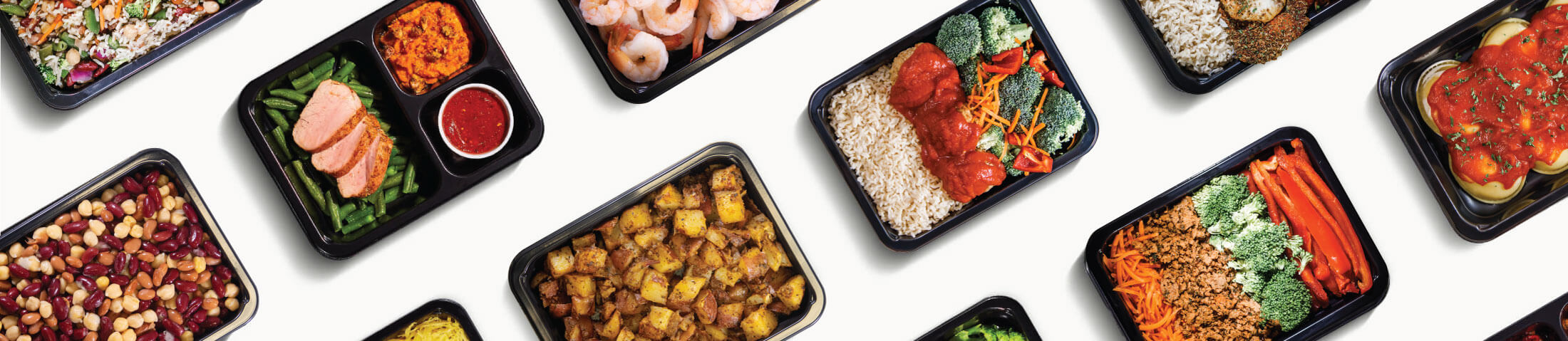 Picture of MealPro's healthy Miami senior meal delivery assortment. The food is made with fresh and natural ingredients